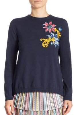 Mary Katrantzou Embroidered Split-Back Cotton Cropped Sweater