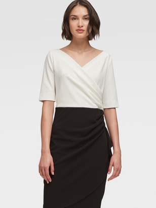 DKNY Ruched Sheath Dress With Ruffle Skirt