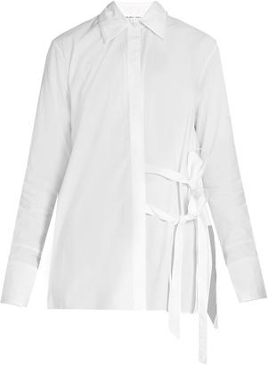 HELMUT LANG Tie-front cotton-poplin shirt $345 thestylecure.com