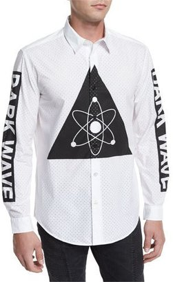 Moschino Uomo Button-Front Perforated Dress Shirt, White/Multi $425 thestylecure.com