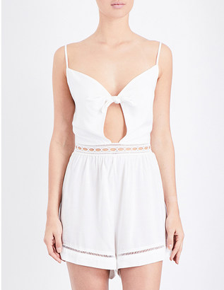 Seafolly Knot-detailed woven playsuit $83 thestylecure.com