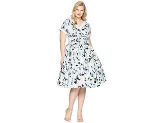 Unique Vintage Plus Size Pleated Waldorf Swing Dress