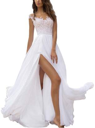 Dreagel Cap Sleeve Appliqued Long Wedding Dresses for Bride with Slit US