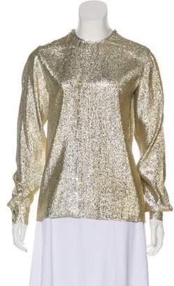 Stella McCartney Metallic Long Sleeve Top Gold Metallic Long Sleeve Top