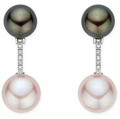 Cultured Pink and Black Pearl and 1/10 Carat Diamond 14K White Gold Earrings