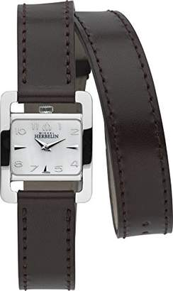 Mother of Pearl Michel Herbelin 5th Avenue Women's Quartz Watch with Dial Analogue Display and Brown Leather Strap 17037/19CHO
