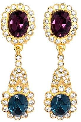 Kenneth Jay Lane Gold, Crystal Sapphire Drop Clip Earrings