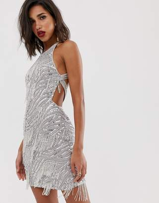 Asos Edition EDITION sequin fringe cutout mini dress