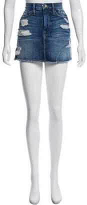 Frame Distressed Denim Skirt