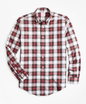 Brooks Brothers Non-Iron Madison Fit Red Tartan Sport Shirt