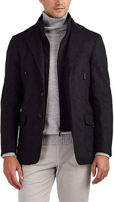Piattelli MEN'S NEAT WOOL-BLEND MELTON ZIP-PLACKET COAT