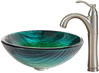 Kraus Glass Circular Vessel Bathroom Sink with Faucet Faucet