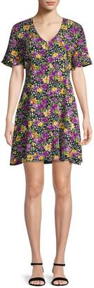 Lord & Taylor Design Lab Floral-Print Button Front Dress