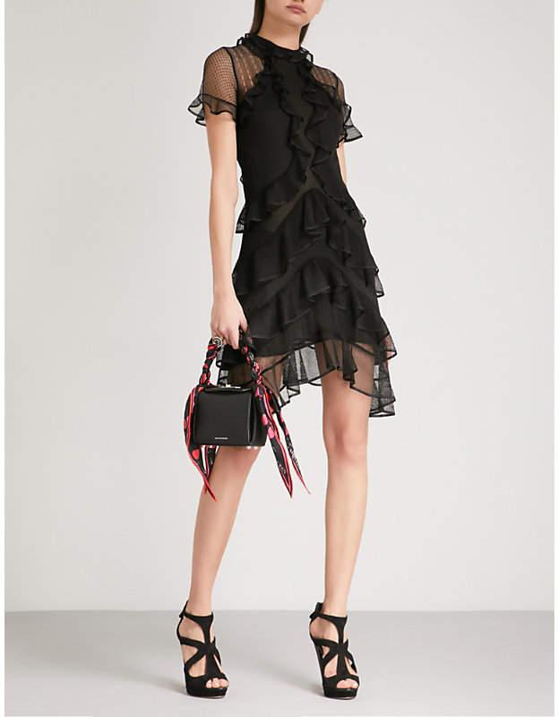 Frilled mesh mini dress