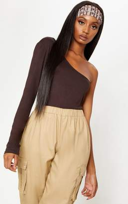 PrettyLittleThing Chocolate Long Sleeve One Shoulder Top