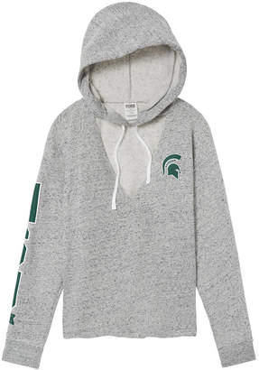 PINK Michigan State University Choker Neck Pullover Hoodie