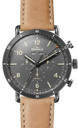 Shinola Canfield Beige Strap Chronograph, 45mm