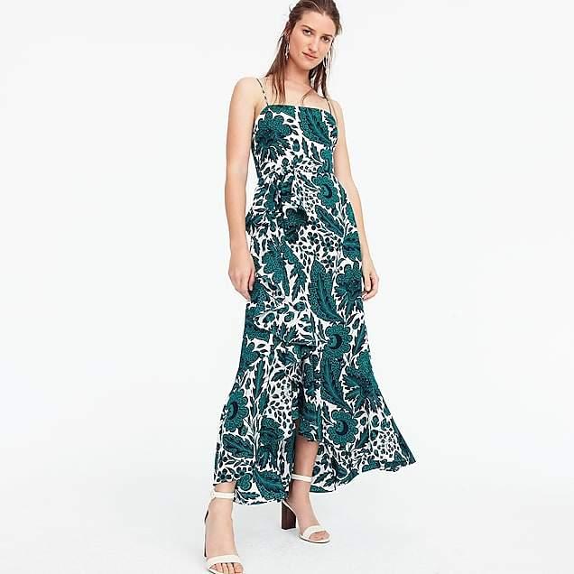 Ruffle hi-low silk dress in tropical floral