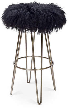 Le-Coterie Curly Hairpin Barstool - Silver/Black