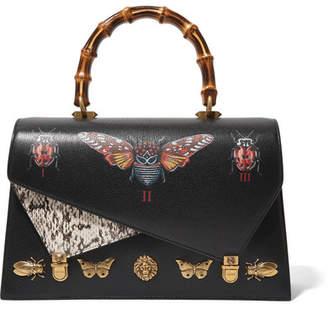 Gucci Ottilia Large Embellished Elaphe-paneled Printed Leather Tote - Black