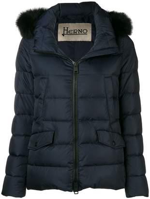 Herno fox fur trim padded jacket