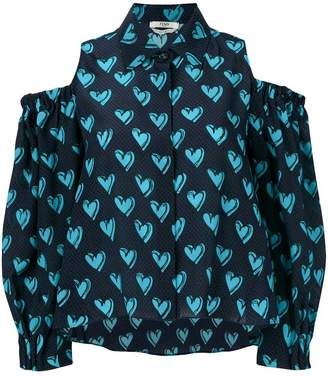 Fendi heart print dropped shoulders shirt