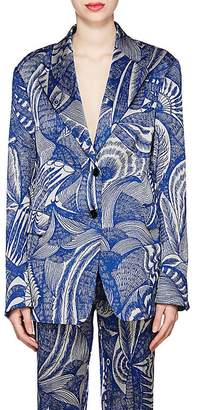 Dries Van Noten Women's Sketch-Pattern Jacquard Two-Button Blazer
