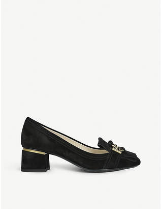 Tod's Tods T Ring Frangia embellished suede loafers