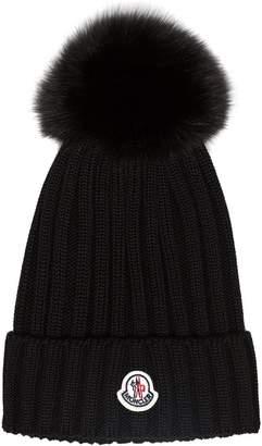 Moncler Black wool beanie hat with pom pom