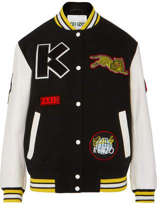 Kenzo Embroidered Wool-blend And Leather Bomber Jacket - Black