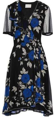 Jason Wu Point D'esprit-Paneled Ruffled Floral-Print Silk Crepe De Chine Dress