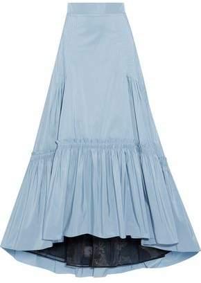 Peter Pilotto Asymmetric Pintucked Shirred Faille Maxi Skirt