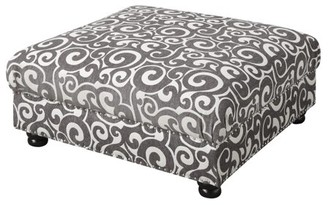 Picket House Furnishings Twine Scroll Upholstered Coffee Table Ottoman
