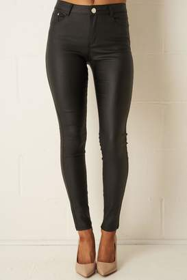 Frontrow Black Wax-Coated Jeans