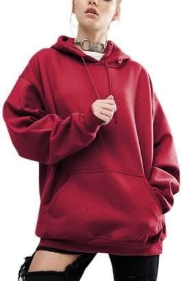 ef87f5aae165f Suvotimo Women Plus Size Casual Loose Teengirls Hoodie Sweatshirts Tops  With Pockets 3XL