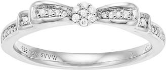 Vera Wang Simply Vera Sterling Silver 1/10 Carat T.W. Diamond Bow Ring