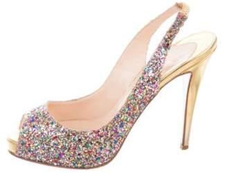 Christian Louboutin Peep-Toe Glitter Pumps Metallic Peep-Toe Glitter Pumps