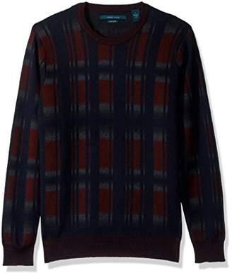 Perry Ellis Men's Winter Cotton Plaid Crew Sweater