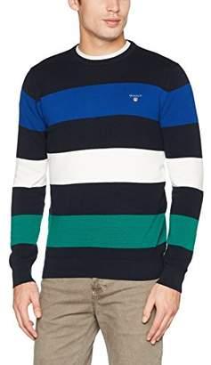 Gant Men's Cotton Piqué Barstripe Sweater Jumper, (Evening Blue), Xx-Large