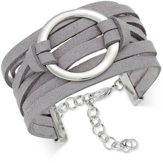 INC International Concepts Silver-Tone Faux-Leather Wrap Bracelet, Only at Macy's $29.50 thestylecure.com