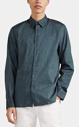 John Varvatos Men's Pinstriped Cotton Twill Button-Front Shirt - Blue