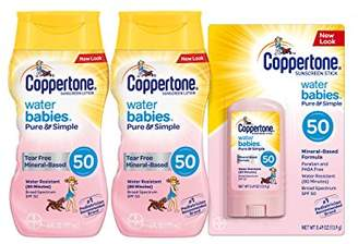 Coppertone WaterBabies Pure & Simple Mineral Based Lotion + Stick SPF 50 Multipack (6-Fluid Ounce Bottle
