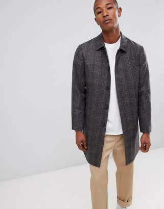 Selected recycled wool overcoat with quilt lining in check