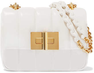 Tom Ford Natalia Large Quilted Leather Shoulder Bag - White