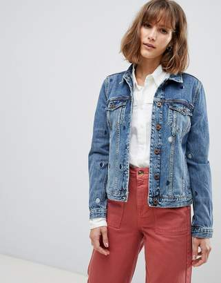 Maison Scotch Trucker Jacket with Moon Embroidery