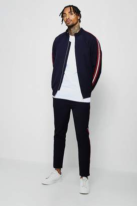 BoohooMAN Crepe Smart Bomber Tracksuit With Taping
