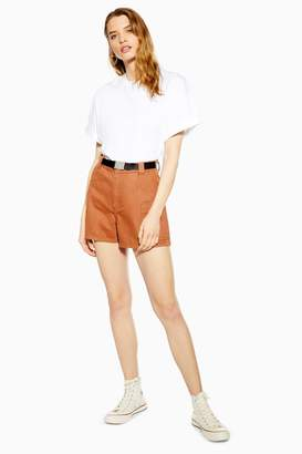 Topshop Rust Utility Belted Denim Shorts
