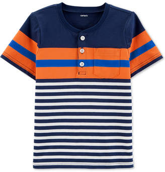 Carter's Carter Baby Boys Henley-Neck Striped Cotton T-Shirt