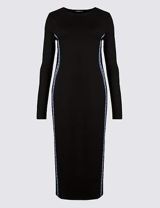 Limited Edition Panel Detail Long Sleeve Bodycon Midi Dress