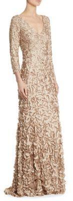 Theia V-Neck Petal Gown $1,295 thestylecure.com